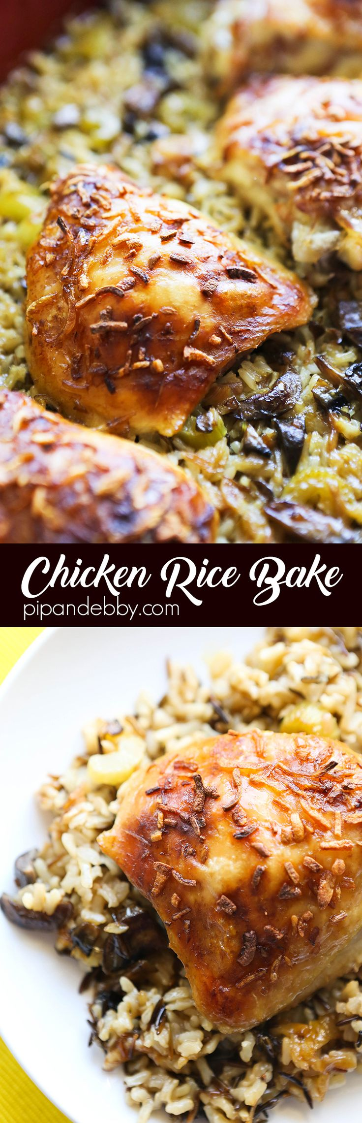 EASY Chicken Rice Bake | Ok, this is one of the BEST dinners I have made in my kitchen....ever! The chicken and rice cooked perfectly and easily and it was SO DELICIOUS. This is a total home run and it will quickly become a family favorite for you, too!
