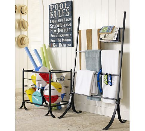 Clever towel holder and toy holders.//Pool Rules Sign | Pottery Barn