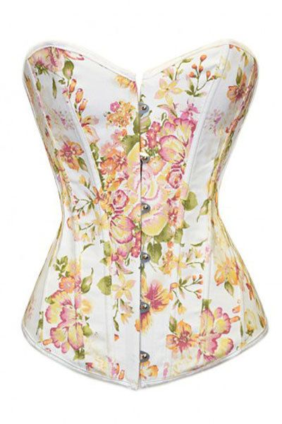 Summertime picnic floral corset, throwback thursday vintage hipster feel with pin-up crossover.   The Violet Vixen - Fantasy Floral White Corset, $54.99 (http://thevioletvixen.com/corsets/fantasy-floral-white-corset/)