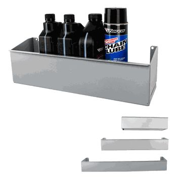 this bottle wall shelf provides for your oil cleaning and degreasing solvents the shelves feature an open back with a mounting flang