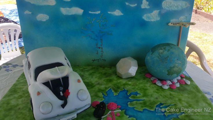60th wedding anniversary cake; VW beetle, world globe, family tree, diamonds