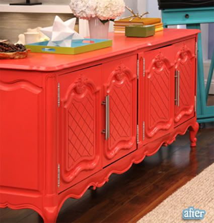 repaint and old massive brown furniture in bold coral and change handles for modern ones - spectacular!