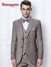 Heather Grey Man Suit Champagne Mens Suits Men's Regular Fit Striped 3 Piece Blazer Tuxedo Vest & Trousers 5 colors Pants D322