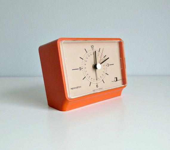 Mid Century Modern Alarm Clock - Nectarine Orange, Pantone - Remington, W. Germany - 1960's Home Decor, Morning Wake Up, 24 Hour