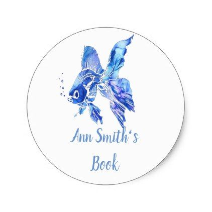 Bookplate to Customize Blue Goldfish Tropical Fish - diy cyo personalize design idea new special