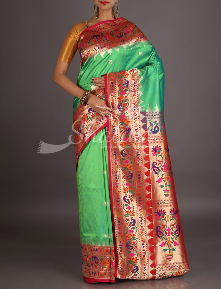 Sushma Bel Colorful Paisleys With Golden Temple Border Real Zari Paithani Silk Saree