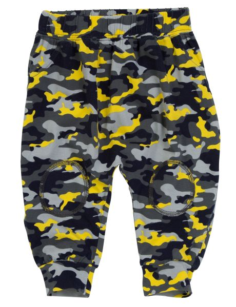 Comfy and colourful, these harem pants feature an all-over camo print. They have a dropped crotch, elasticated waistband, knee patches, and ribbed hems.