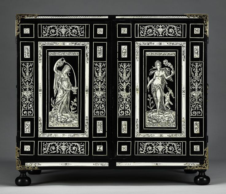Ebony cabinet with inlaid panels, incised ivory figures of Venus and Hebe, with a figure of Diana within the cabinet, containing ten drawers, decorated with hunting scenes: Italian, probably Naples, 1575-1625.