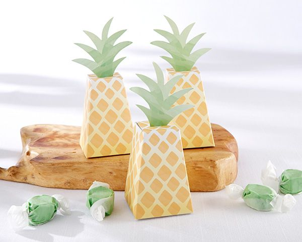 Thank guests at your Hawaiian inspired wedding or luau party with pineapple-shaped favor boxes from Kate Aspen. Fill them with treats to create a favor worth giving.