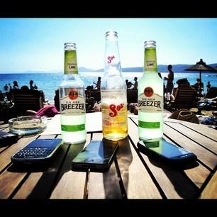 Enjoying our Beers in Banana Beach, Skiathos