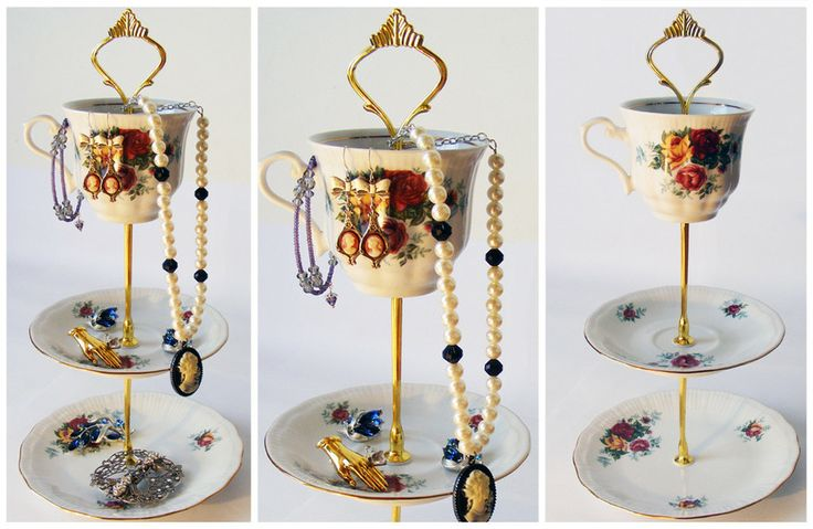 Time For Tea: Gorgeous jewellery stand made using vintage teacups. Would look great on your mam's dresser adorned with her trinkets.
