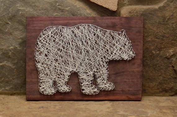 Custom bois faune ours String Art Home Decor, Decor de cabine
