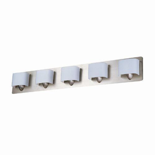 DVI DVP3545BN 5 Light Long Beach Bathroom Light, Buffed Nickel by DVI. $143.50. From the Manufacturer                Finish: Buffed Nickel, Glass:Bent Opal Glass, Light Bulb:(5)75w T4 G9 120v Halogen Five Light Vanity. Extra Glass Included.                                    Product Description                DVP3545BN Features: -Bath vanity.-Bent opal glass shade.-Contemporary style.-Specialty bulbs not included. Includes: -Extra glass included. Color/Finish: -Buffed...