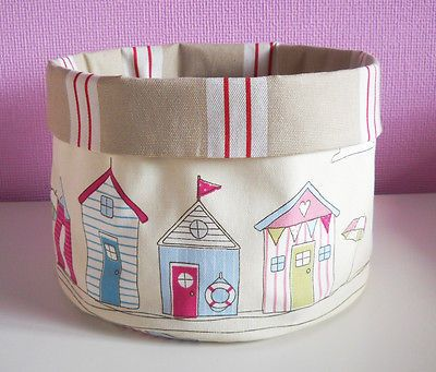 Clarke & Clarke Beach Huts Maritime Stripe Fabric Storage Basket Toys Bathroom