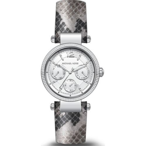 Michael Kors Mini Parker Womens Silver Snake Style Leather Band Watch MK2567 796483264359 | eBay