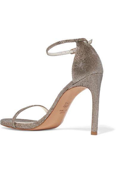 Stuart Weitzman - Nudistsong Metallic Mesh Sandals - Platinum - IT37.5