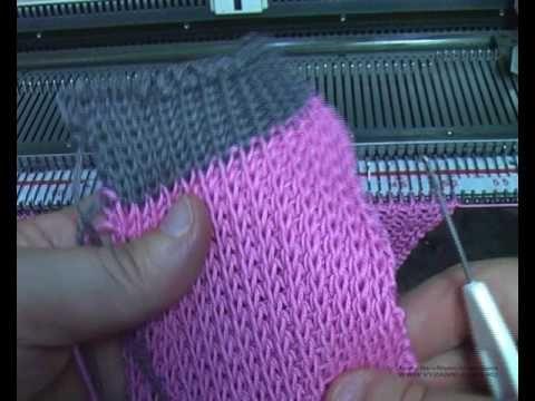 Горловина спинки на полуфанге. Машинное вязание. - YouTube
