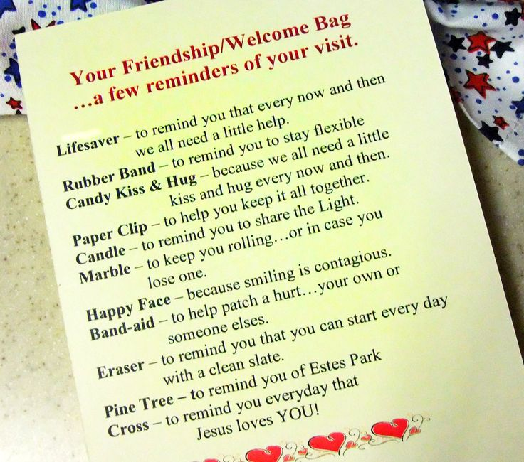 The United Methodist Church of Estes Park, Colorado, gives each guest a Friendship Welcome Bag. We received one today when we visited their church. I love the name and the bag!