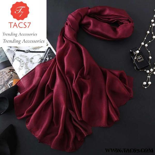 Solid Silk Winter Autumn Scarf Women Shawl Soft Wrap Patchwork Pattern Scarves