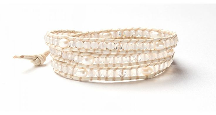 CREAM AGATE, CRYSTAL PEARL LEATHER WRAP