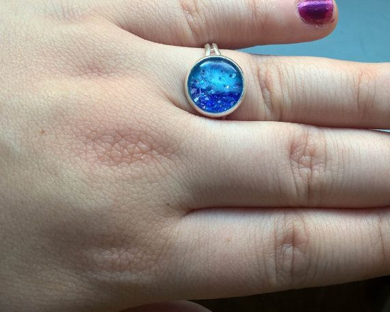 Blue Glitter Ring Light blue ring dark blue ring by Glitterperlen