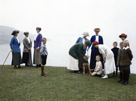 "These seldom-seen pictures are genuine colour photographs of Cornish people, towns, villages, farms, churches, moorland and coast, all taken in August 1913. None of the pictures are colourised – they are autochromes, the earliest commercially available colour photography system. The pictures were taken by Auguste Leon, for Albert Khan, and are drawn from Albert Khan's ""Archives of the Planet""."