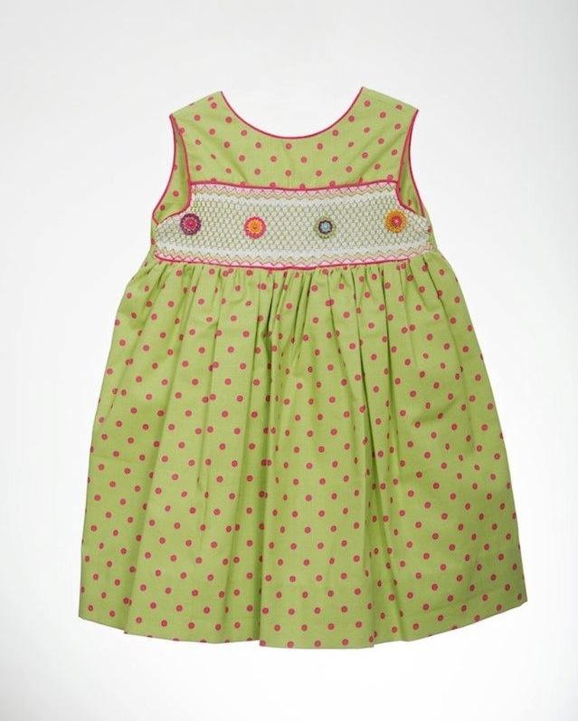 Vestido verde de lunares rosados