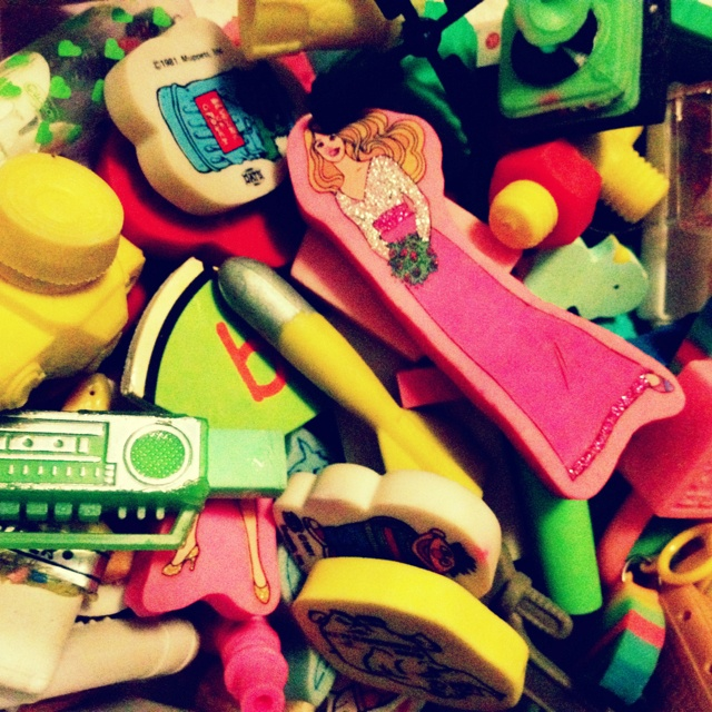 My thirty year old rubber collection. Bizarrely, seemingly universally adored by three year old boys.