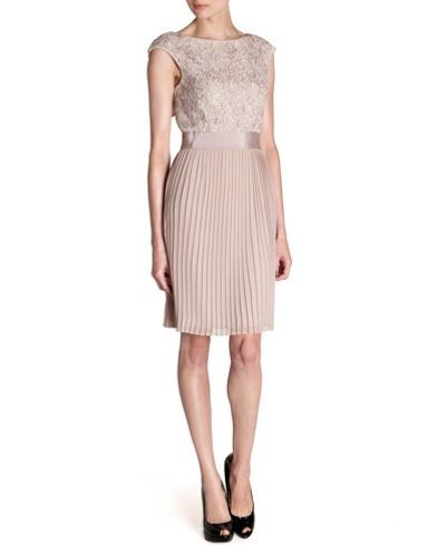 Ted Baker Aliana lace detail button back dress Natural - House of