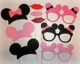 Pink minnie mouse photo booth props Minnie ears Mickey ears Minnie decorations Mickey printables cutouts Minnie mouse birthday Party hats