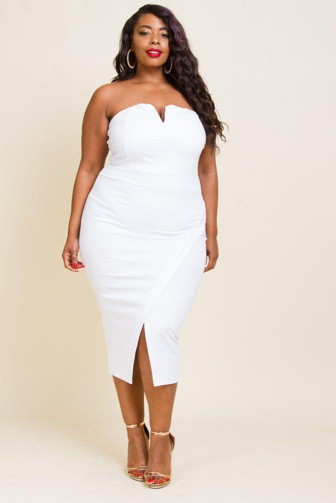 FINAL SALE** Plus Size Strapless Tulip Midi Dress | gorgeous ...