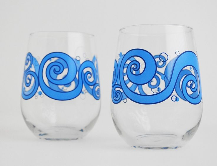 "Ocean Waves Wine Glasses - Set of 2 Stemless Beach Themed Wine Glasses. Sip your wine and dream of calming ocean breezes and the soothing sound of rolling waves. Ocean Wave silkscreen printed glasses are exceptionally durable and dishwasher safe for daily use. Look fabulous with any beverage. Details • Listing for 2 glasses • Glasses are 4.5"" tall • Perfect for water, wine and juice • Silkscreen printed in the USA • Dishwasher safe and very durable • 100% made in the USA Stemless style of..."