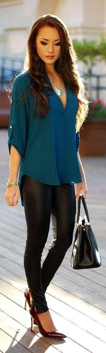 Cómo combinar leggins cuero: fotos mejores imágenes  (14/41) | Ellahoy
