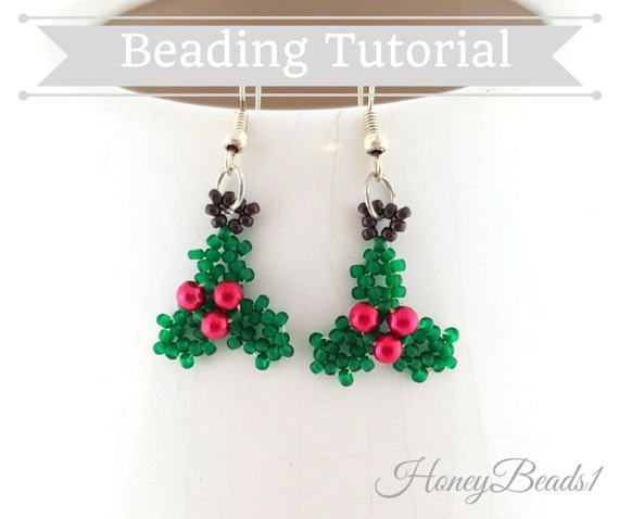 PDF-file Beading Pattern Holly Christmas Earrings PDF-file