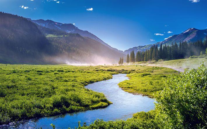 Download wallpapers America, 4k, Colorado, valley, summer, hills, river, USA