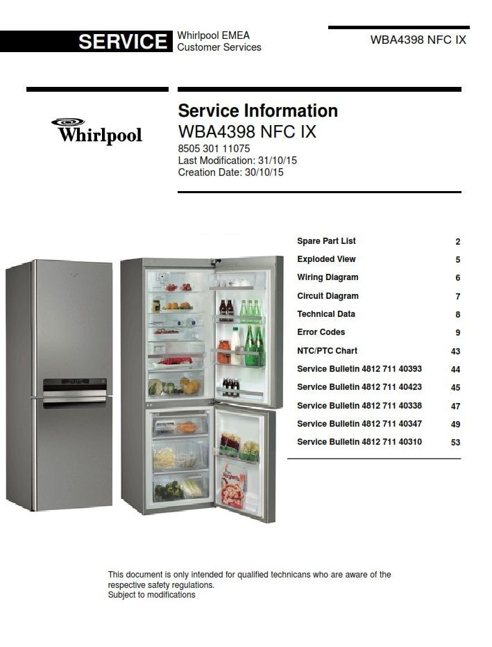 whirlpool wba4398 nfc ix original service information guide as used by all  certified technicians and repair