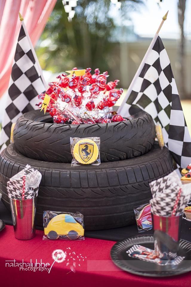 Ferrari Boys Birthday Party  Tire Centre piece