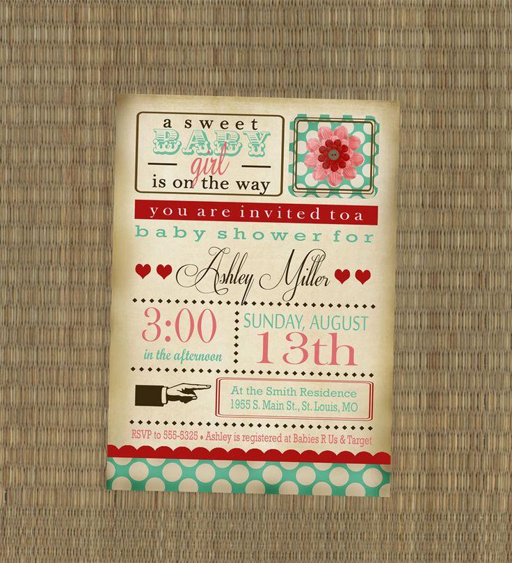 Printable Baby Shower Invitation Vintage Baby