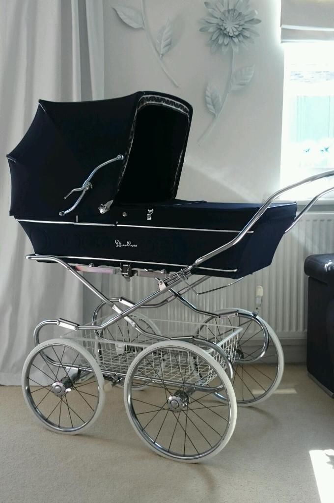 Beautiful navy blue vintage silver cross full size baby pram suit boy or girl silvercross Lovely big bouncy silver cross pram in dark navy. Fully restored, steam cleaned and baby ready. This model is the trident and dates from the mid 1970s and is is beautiful condition. The chrome has all been cleaned and polished and the tyres have...