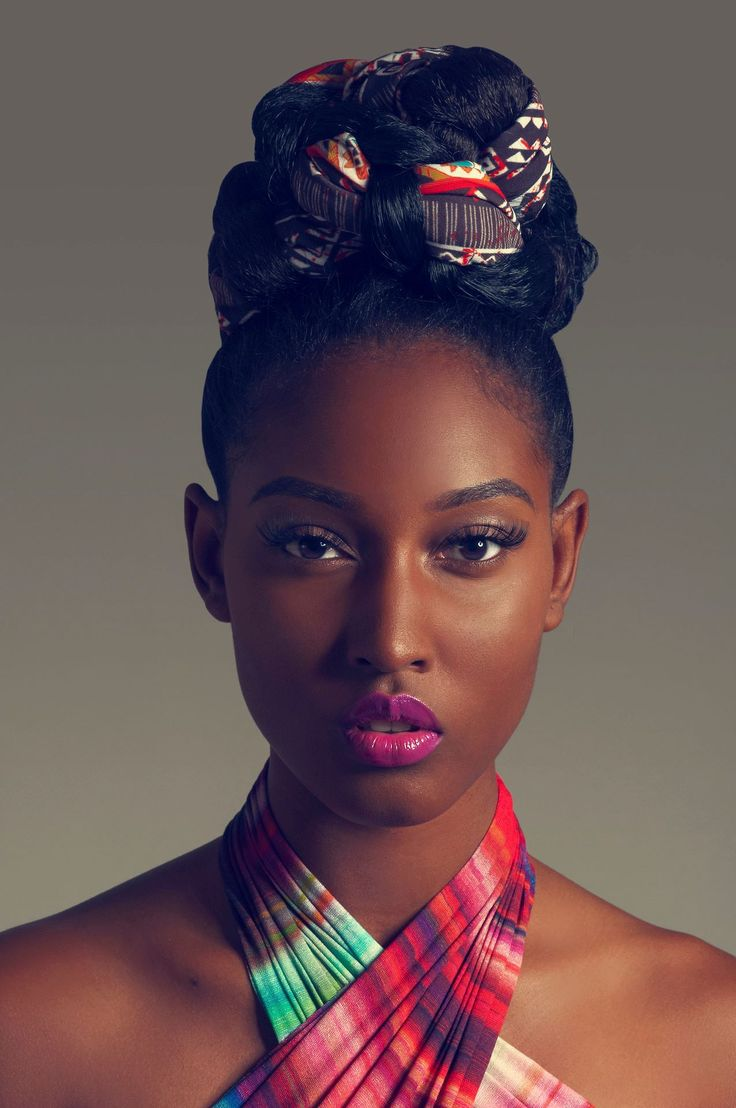 African makeup african hair african goddess african style african - Lavish Beauty Trick Interlacing African Cloth In Your Bun