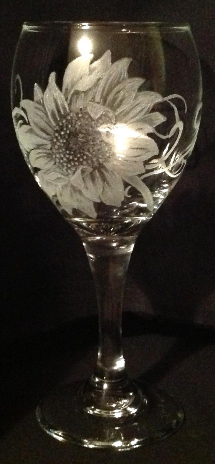 Sun Flower - Glass engraving by Tracy Anne Wilkinson