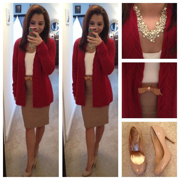 Neutral colors, pearls, a bow and a pop of red for today! Love this, perfect out…