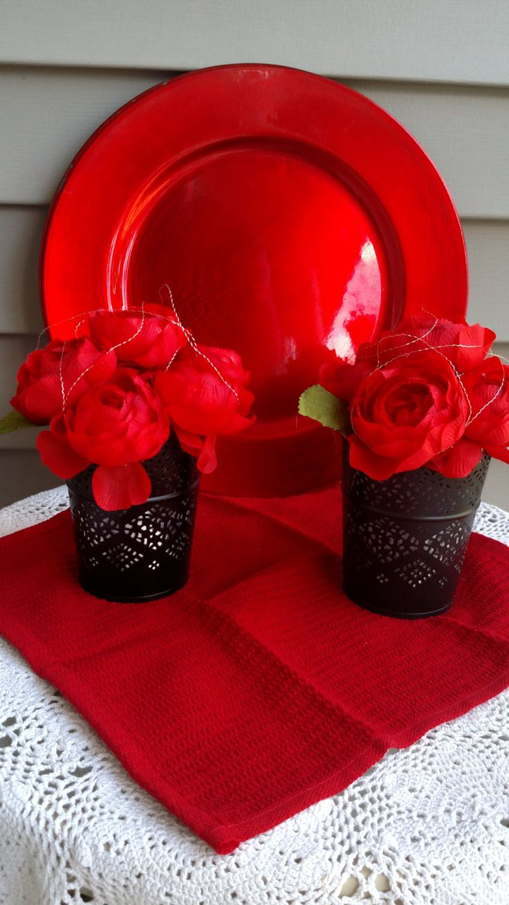 Black Vases- Goth Red and Black Centerpieces- Mediterranean Style Decor by ScepterBridesFlowers on Etsy