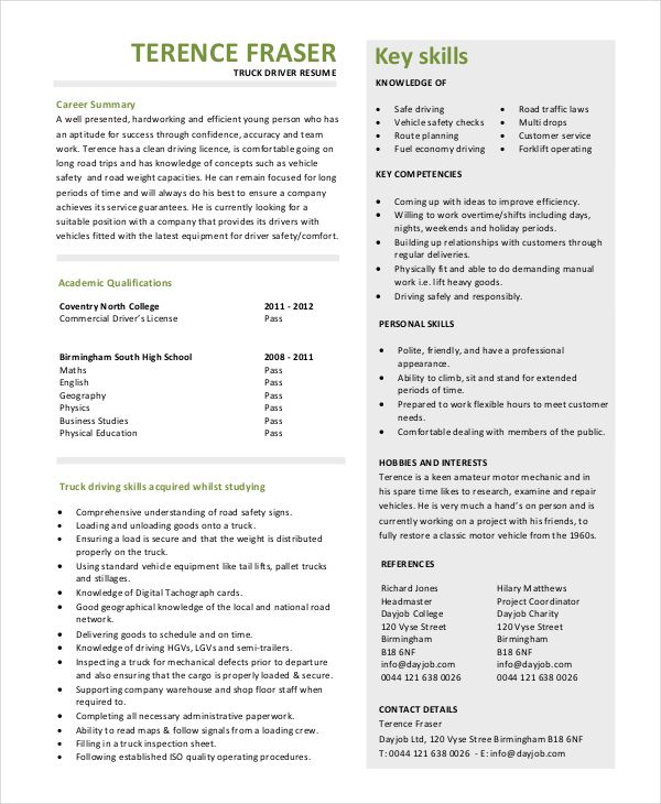 Truck Driver Resume Templates 13 Free Ms Word Pdf Resume