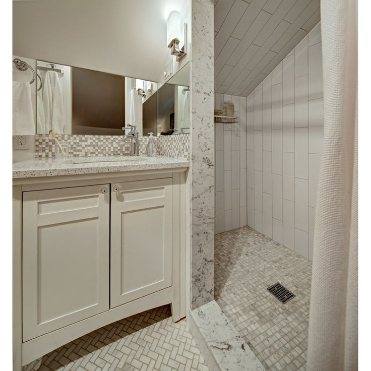 Small White Bathroom With Shaker Style Vanity Tracey Stephens Interior Design