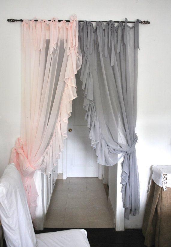 Side Ruffle Chiffon Curtain