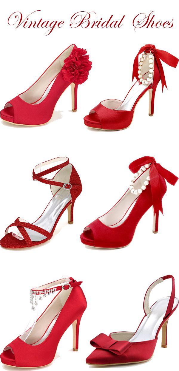 Red Vintage Bridal Shoes Wedding Shoes Lace Bridal Shoes