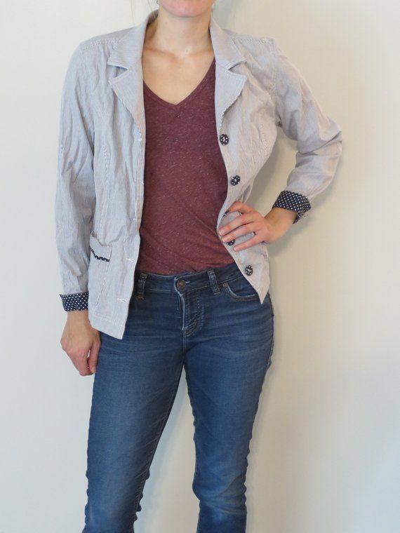b8afaff2fa Women s Shirt Christopher   Banks Button Down Blouse Small Horizontal  Stripe Blouse Polka Dot Blouse