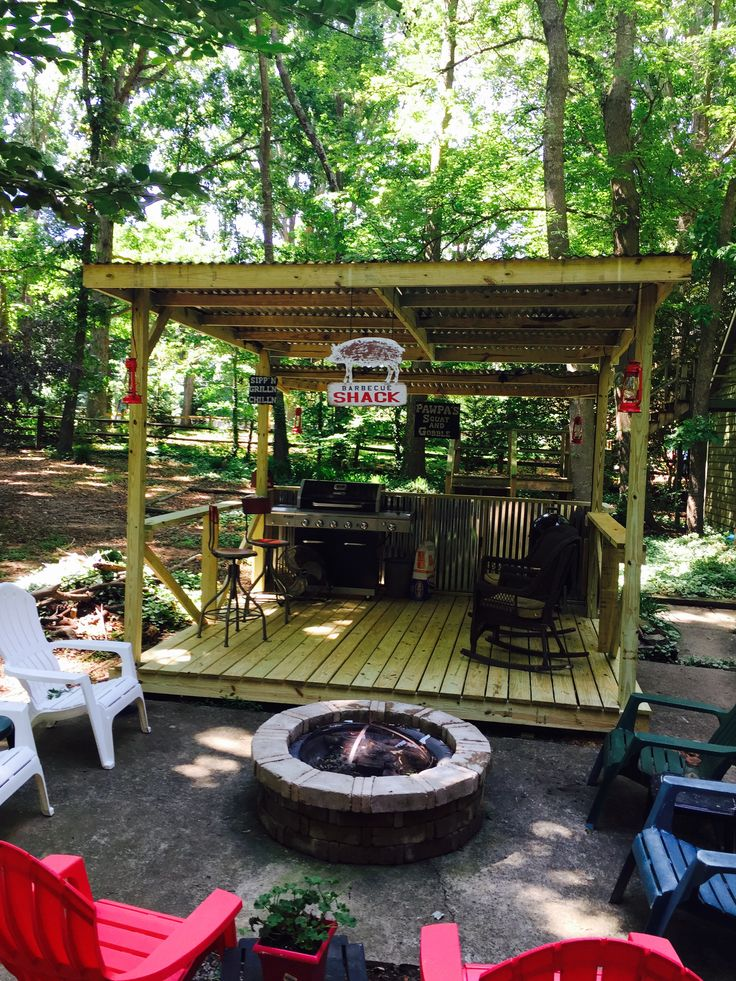 Bbq Deck With Fire Pit Outdoor Kitchen In 2019 Outdoor