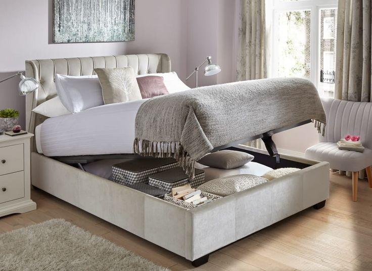 Sana Pearl Fabric Ottoman Bed Frame